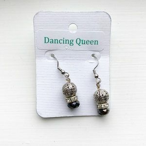 Chic silver & monochrome beaded drop earrings